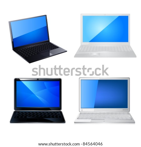 Laptop icon set - stock vector