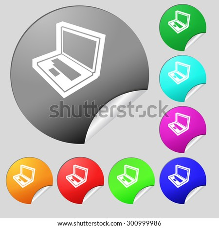Laptop icon sign. Set of eight multi colored round buttons, stickers. Vector illustration - stock vector