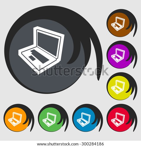 Laptop icon sign. Symbol on eight colored buttons. Vector illustration - stock vector