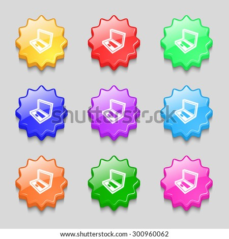 Laptop icon sign. symbol on nine wavy colourful buttons. Vector illustration - stock vector