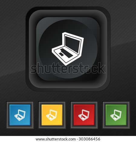 Laptop icon symbol. Set of five colorful, stylish buttons on black texture for your design. Vector illustration - stock vector