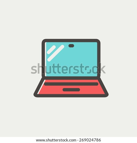 Laptop icon thin line for web and mobile, modern minimalistic flat design. Vector icon with dark grey outline and offset colour on light grey background. - stock vector