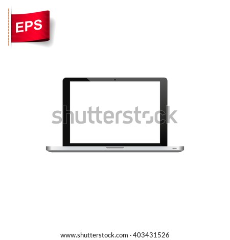 laptop icon, vector notebook blank, isolated laptop screen mockup - stock vector