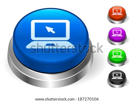 Laptop Icons on Round Button Collection - stock vector