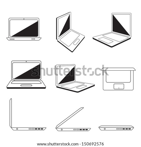 Laptop Icons Set - Isolated On White Background - Vector Illustration, Graphic Design Editable For Your Design. - stock vector