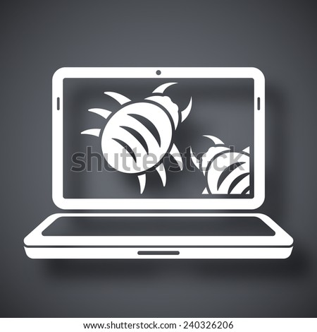Laptop is infected by malware, vector illustration - stock vector