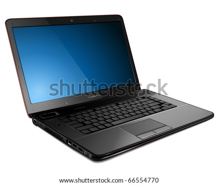 Laptop, modern computer detailed vector illustration.