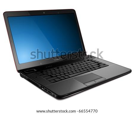 Laptop, modern computer detailed vector illustration. - stock vector