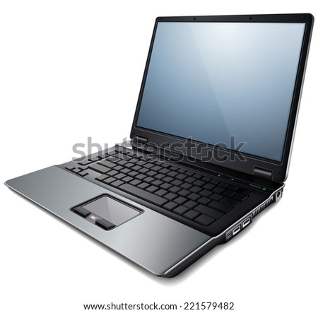 Laptop, modern computer, vector illustration. - stock vector