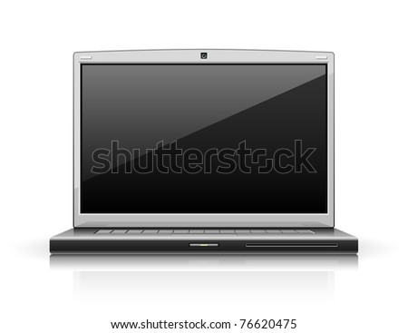 laptop modern computer vector illustration isolated on white background - stock vector