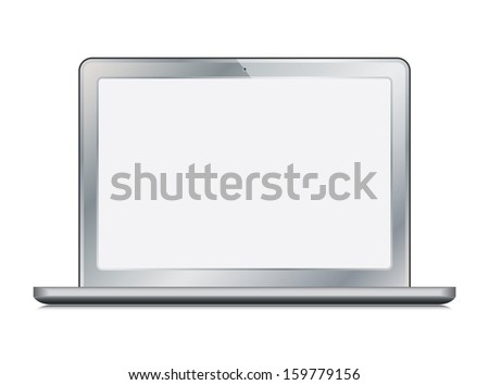 laptop (netbook) color chrome with white blank screen. vector illustration. vector eps10 - stock vector