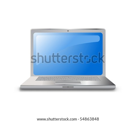 Laptop (notebook) computer icon on white - stock vector
