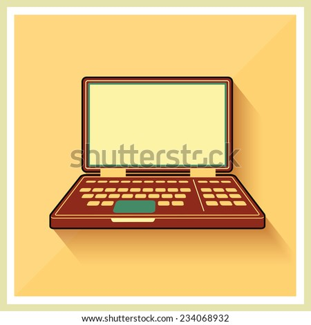 Laptop notebook personal computer on flat yellow Retro Background vintage icon Vector - stock vector