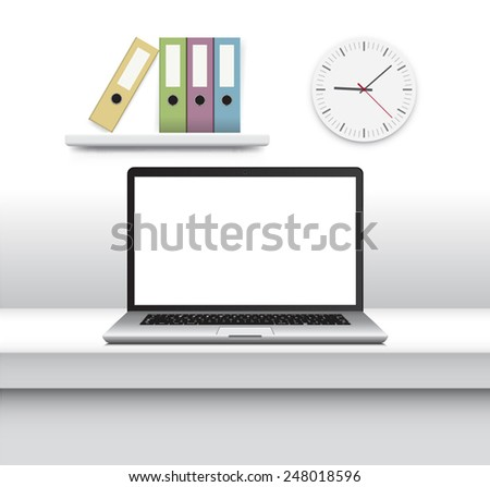 Laptop, notebook with thin body on office white minimalist table Isolated on White Background with blank screen. Vector Illustration. - stock vector