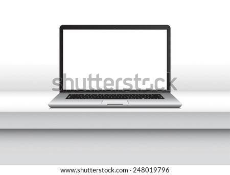 Laptop, notebook with thin body on white minimalist table Isolated on White Background with blank screen. Vector Illustration. - stock vector