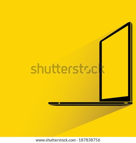 laptop on yellow background, shadow and flat style - stock vector