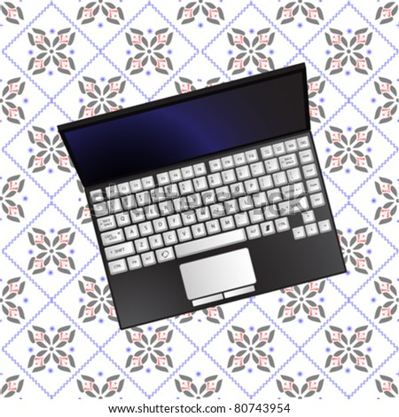 laptop over flowerish texture, abstract vector art illustration; image contains transparency - stock vector