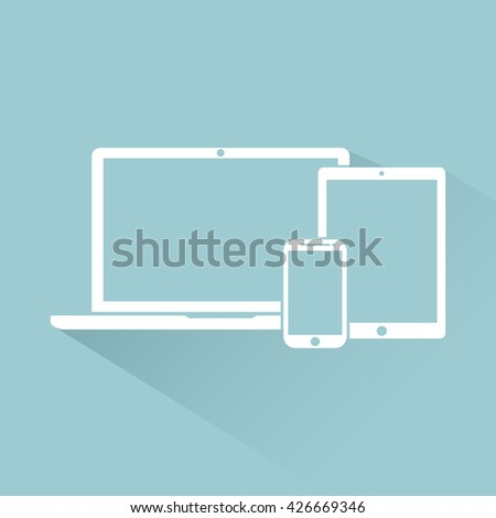 laptop, phone, tablet electronic device icons flat style template with shadow isolated on a bright background , stylish vector illustration eps10 - stock vector