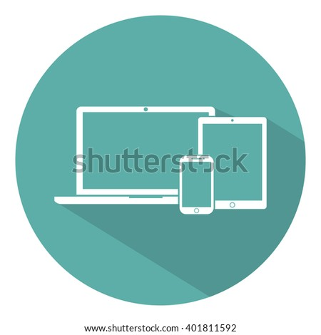 laptop, phone, tablet electronic  device outline icons template with shadow on a green background flat style, stylish vector illustration - stock vector