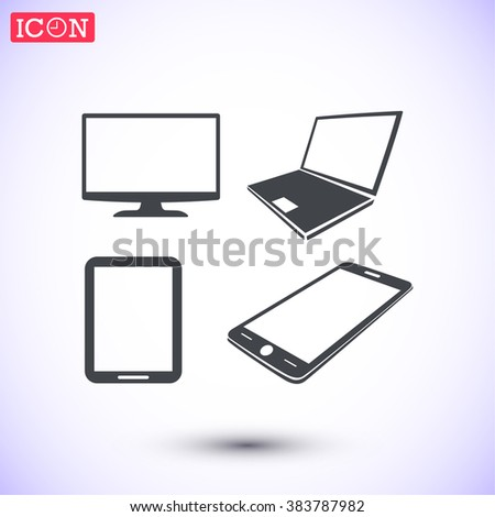 Laptop phone tablet monitor  icon - stock vector