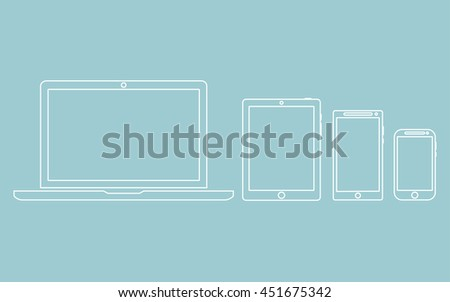 laptop, phone, tablet silhouettes,outlines isolated on a green background with empty screen vector illustration