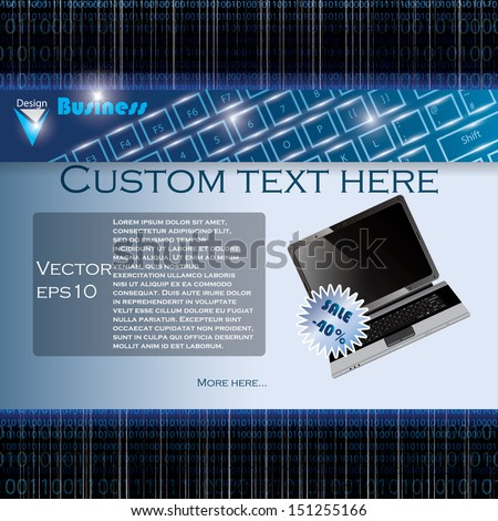 Laptop sale business background with matrix codes background - stock vector