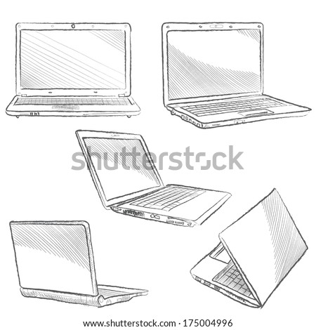 Laptop set. Computer sketch hands sketch vector illustration. Gadget isolated on white background  - stock vector