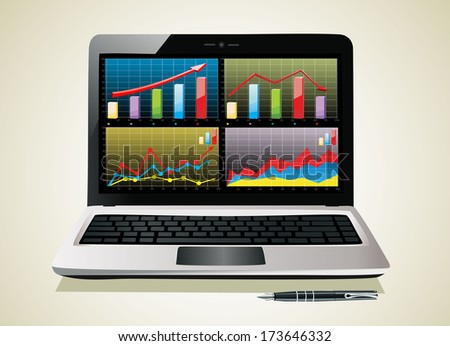 Laptop showing a spreadsheet with some charts - stock vector