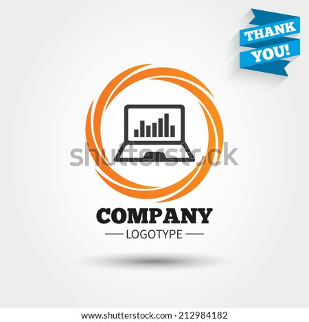 Laptop sign icon. Notebook pc with graph symbol. Monitoring. Business abstract circle logo. Logotype with Thank you ribbon. Vector - stock vector