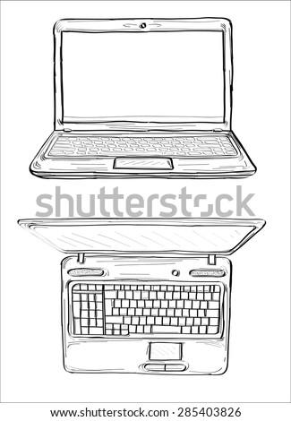 Laptop sketch- hands sketch vector illustration - stock vector