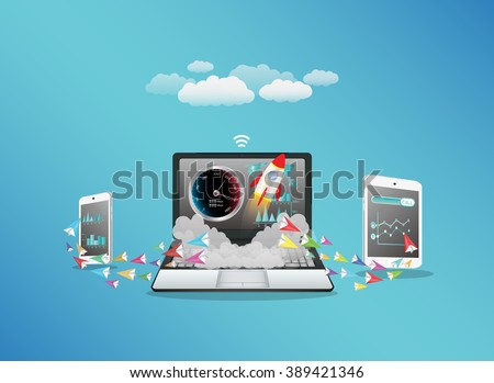 Laptop smart phone and tablet transferring data with hi speed internet - stock vector