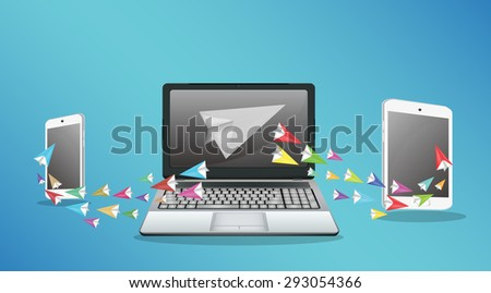 Laptop Smartphone And Tablet transfering data - stock vector