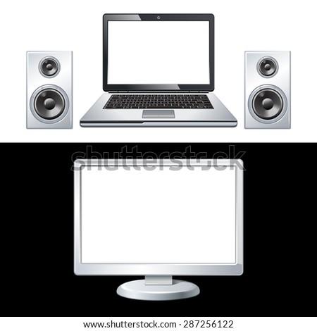 laptop, speaker, computer isolated on white, black 10eps - stock vector