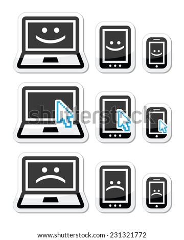 Laptop, tablet and phone with cursor arrow, happy and sad faces - stock vector