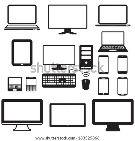 laptop, tablet computer, monitor and mobile screen - stock vector