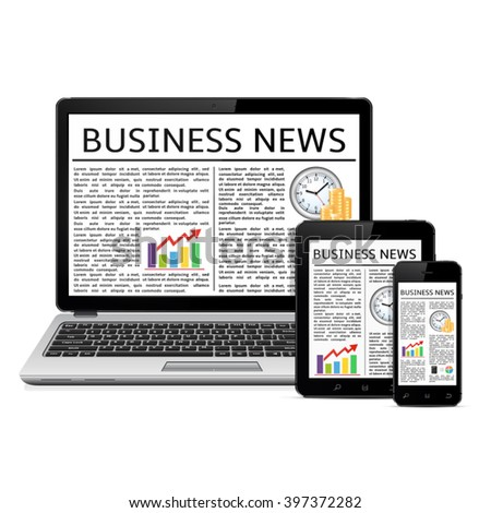 Laptop, tablet PC computer and touchscreen smartphone with web business news on screen - stock vector