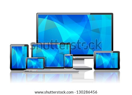 Laptop, tablet pc, mobile phone and navigator are shown in the image. - stock vector