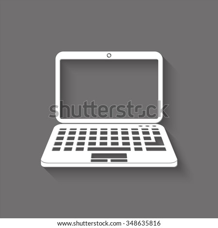 laptop vector icon with shadow
