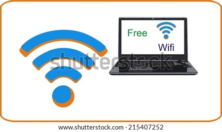 laptop wifi - stock vector