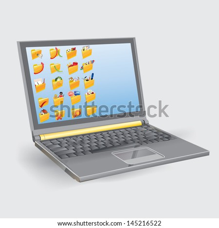 laptop with a folder icon on the screen