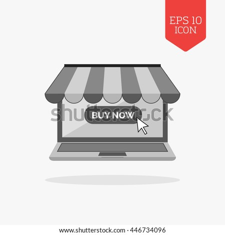 Laptop with awning icon, online shopping concept. Flat design gray color symbol. Modern UI web navigation, sign. Illustration element - stock vector