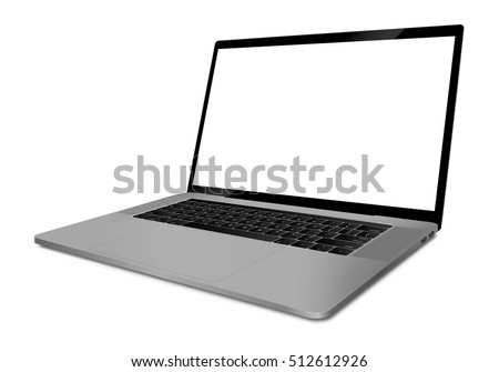 Laptop with blank screen angled view - vector eps 10 format