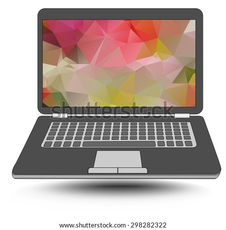 Laptop with colorful triangle abstract patterns on the display.