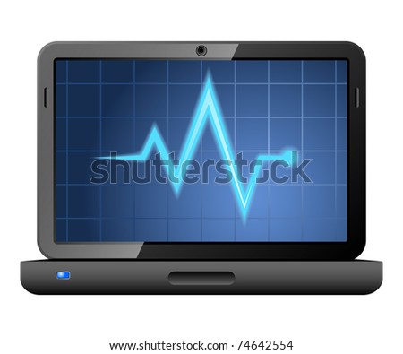 Laptop with diagnostics utility on the screen. Vector - stock vector