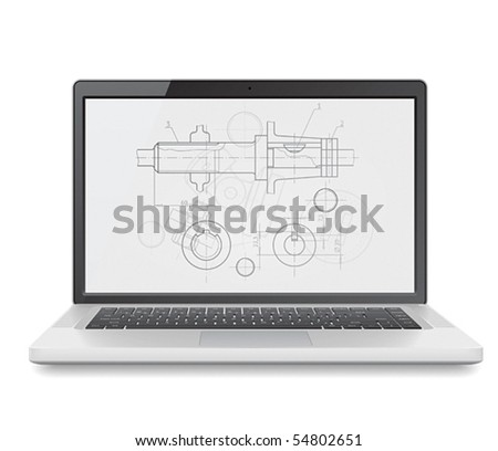 Laptop with engineering blueprint. Vector illustration for design department and heavy industry. - stock vector