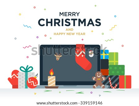 Laptop with gifts, candles, red ball and Christmas socks on the screen. Christmas postcard with greeting text - stock vector