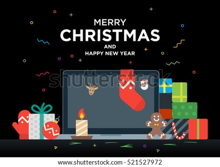 Laptop with gifts, candles, red ball and Christmas socks on the screen. Christmas postcard with greeting text. Material design Vector illustration