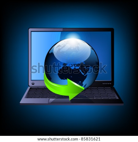 Laptop with globe and green arrow. Vector