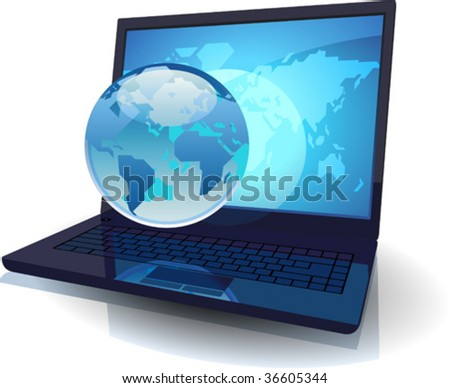 Laptop with Globe and map of the World. Vector illustration concept.
