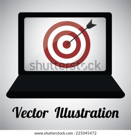 laptop with icon on your screen over gray color background - stock vector
